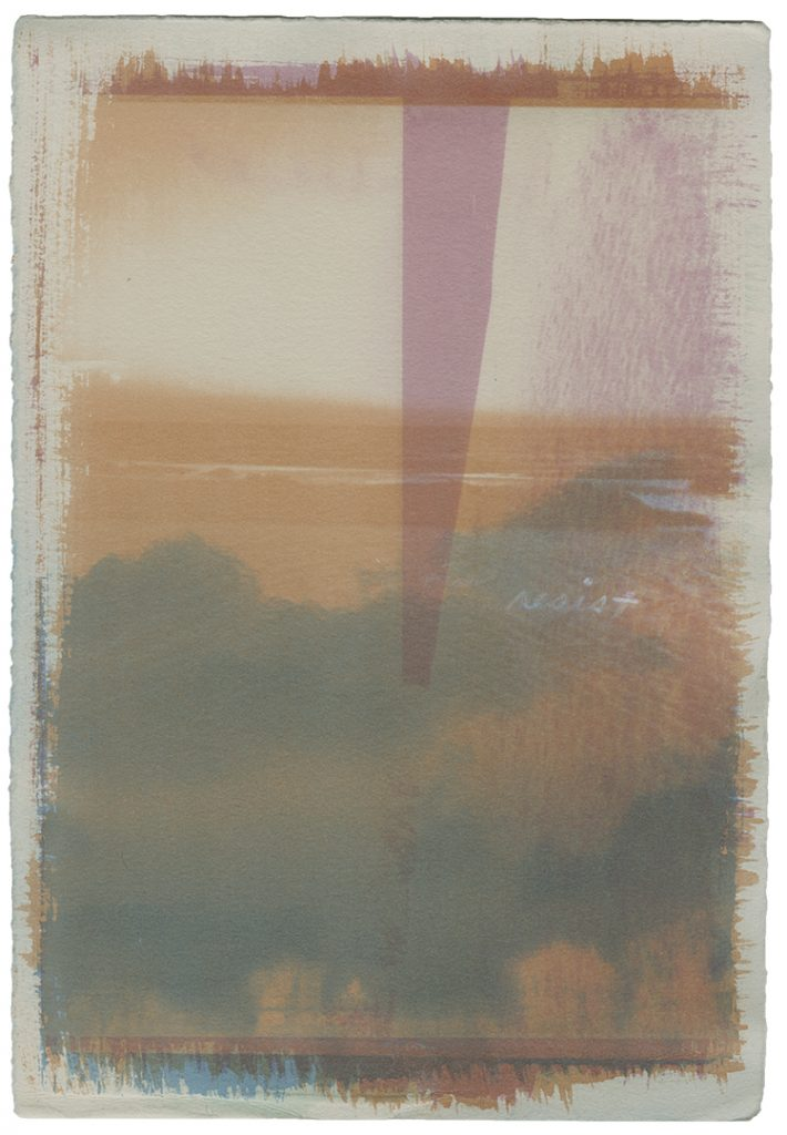 Gum bichromate photograph with handwritten text.