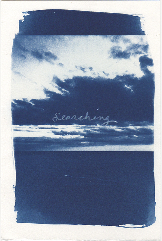 Cyanotype photograph on with handwritten text.