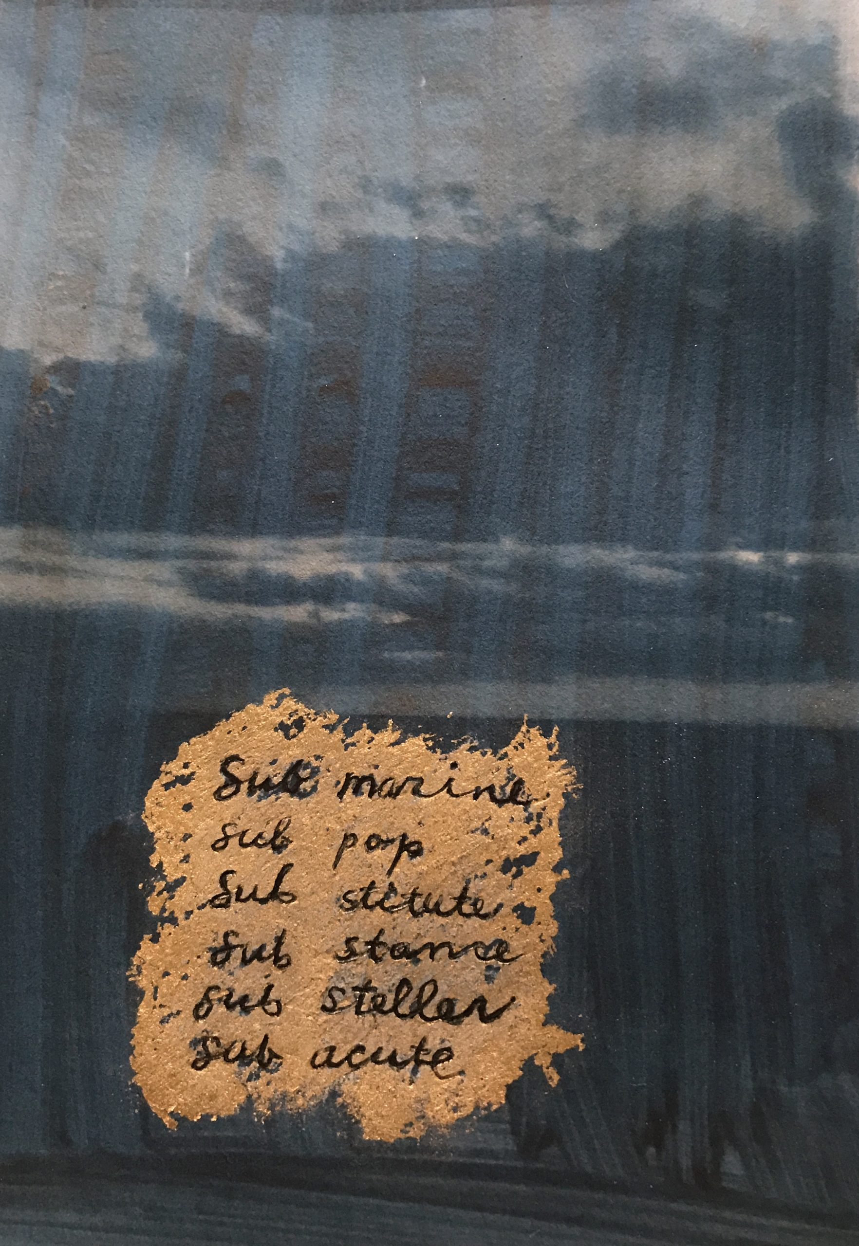 Alternative process photograph with gold overlay on handwritten text.
