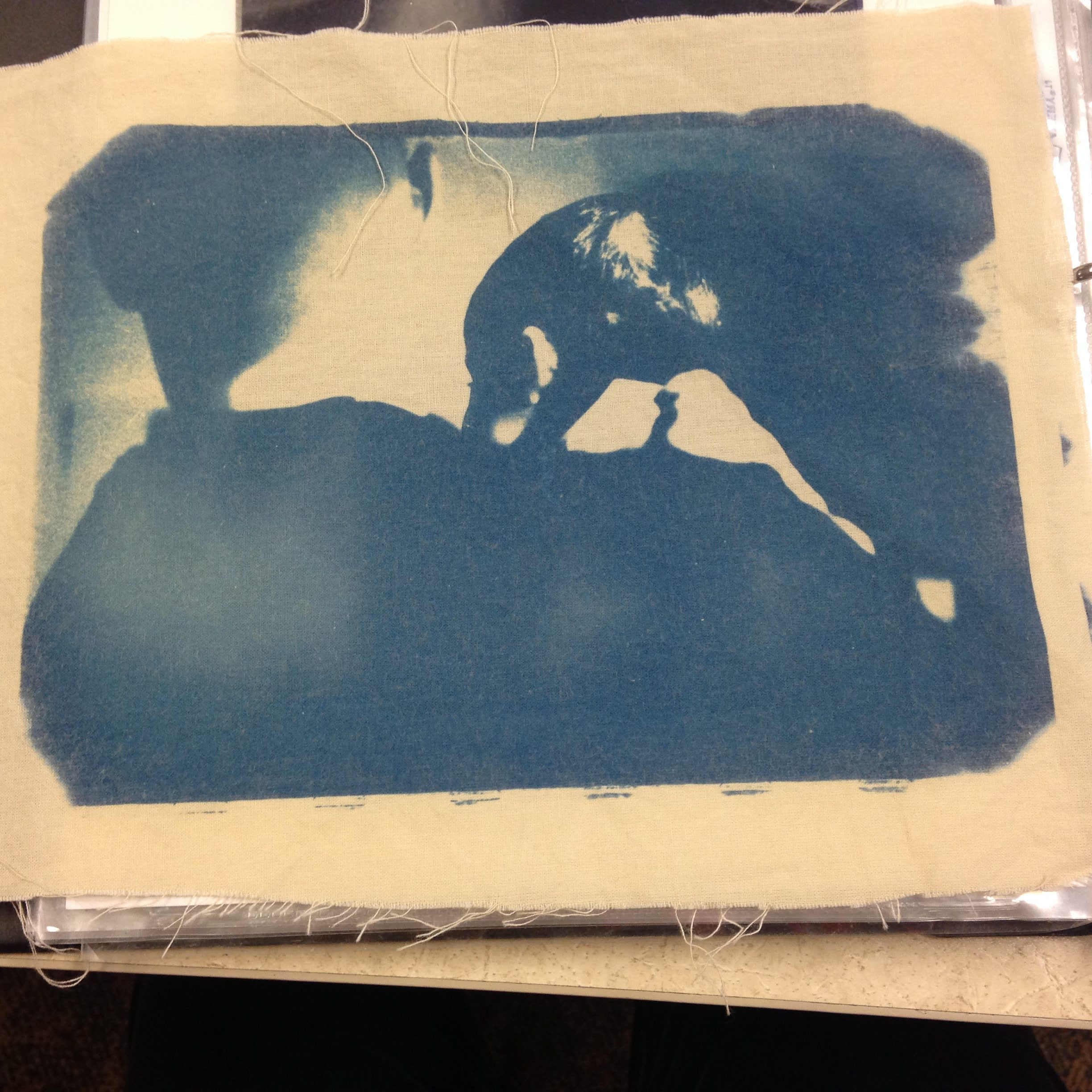 Cyanotype photograph on cloth.